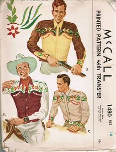 Retro Sewing McCall 1949 Men's western shirt sewing pattern with transfer for embroidery. - This is a 1949 Men's western shirt sewing pattern by McCall, it comes with transfer for embroidery. Vintage Western Wear, Vintage Cowgirl, Vintage Man, Western Cowboy, Western Style, Vintage Dress Patterns, Clothing Patterns, Chemises Country, Cowboy Outfits