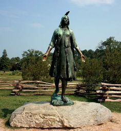 Photograph:A statue of Pocahontas stands at Historic Jamestowne, in Jamestown, Virginia.