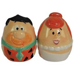 Flintstones Fred And Wilma Egg Salt And Pepper Shakers