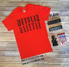 Netflix and Big / Little / Gbig / Custom Name Red Unisex Tee - S-XL // Big Little Reveal // Sorority // Netflix and Chill