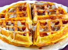 A decadant cinnamon bun turned into a waffle.  Will give you a toothache. Inspiration from Recipe Girls blogsite.