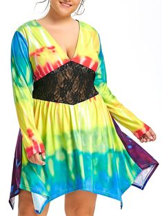 Lace Panel Plus Size Rainbow Tie Dye Low Cut Dress