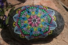 Hand Painted Granite River Stone Mandala