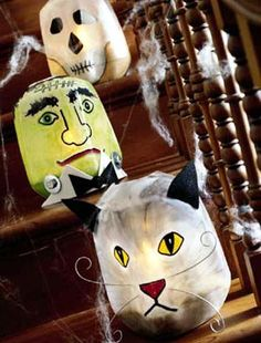 Frightfully Fun Halloween Ideas with Bats and Cats- eerie luminaries