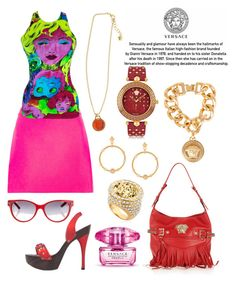 """""""Versace:  Pink & Red"""" by tammy-gardner ❤ liked on Polyvore featuring Versace and versace"""