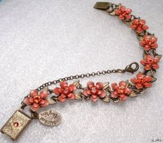 Designer-signed-MICHAL-NEGRIN-Orange-SWAROVSKI-RHINESTONE-Floral-Link-Bracelet