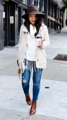 Nordstrom Jackets - Top off a layered street style look with an on-trend felt hat. Street Style Looks, Looks Style, Fall Winter Outfits, Autumn Winter Fashion, Winter Chic, Casual Chic, Jacket Outfit, Sweater Jacket, Felt Hat Outfit