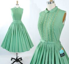 Vintage 50s Green Cotton Dress 1950s Deadstock by GeronimoVintage