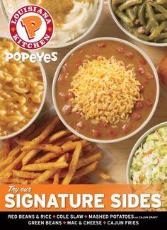 Popeyes Menu, Popeyes Fried Chicken, Chicken Menu, Chicken Recipes, Mashed Potatoes Calories, Cajun Rice, Seafood Menu