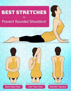 Shoulder Stretches Best Stretches to Prevent Rounded Shoulders! is part of health-fitness - Here is the list of best shoulder stretches which if performed on a regular basis & in a recommended way will work wonders to get rid of rounded shoulders! Fitness Workouts, Yoga Fitness, Wellness Fitness, At Home Workouts, Fitness Weightloss, Health Fitness, Kyphosis Exercises, Posture Exercises, Back Exercises