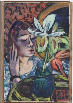 Max Beckmann (1884-1950), Frau mit Orchidee, 1940,