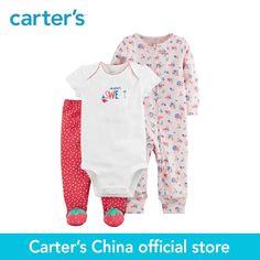 00b6651a3 Number Piezas de Carter bebé niños de la Muchacha de la ropa de Primavera y  Verano de Algodón de Fresa Dormir & Play Set 126H331
