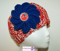 Wide Crochet Headband with Patriots' Button