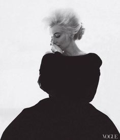 Photo:1962, Editor Babs Simpson, dressed Marilyn Monroe in Christian Dior Haute Couture for Bert Stern's famous last portraits of the actress. Photographed by Bert Stern, Vogue, 1962 / Courtesy of Abrams.