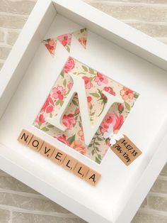New Baby Gift Personalised Box Frame Christening Keepsake Gift for her Pink Blue Floral Baby Nursery Initial Picture Butterfly Marco Scrabble, Scrabble Frame, Framed Letters, Diy Baby Gifts, Personalized Baby Gifts, Craft Gifts, Box Frame Art, Box Frames, Ikea Box Frame