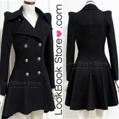 Western Turn-Down Collar Wool Women Long Pea Coats Black