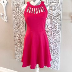 """🌺HP🌺4/16. Pink Fit & Flare Dress Adorable fit & flare dress with beautiful lattice neckline. Bust is 17"""" across laying flat, neck to waist is16"""", shoulder to hem is 34"""". Long zipper down the back. 96%poly &5%spandex, machine washable. NWOT HP chosen by Teresa @poshjeegirl 4/16 Total Trendsetter 😘💕 Trixxi Dresses"""