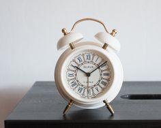 Small Two Bell Alarm Clock, Vintage Desk Clock, Slava USSR Clock, Soviet Union Home Decor Office Decor, Cream White and Gold