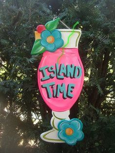 | Tropical Tiki Drink Beach Bar Island Time Sign Plaque