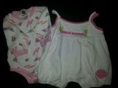 Girls Pink & White Infant Harley Davidson Motorcycles 3-6 months Clothes Outfits