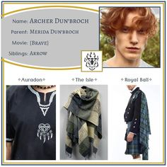 """Descendants OCs on Instagram: """"Archer ✧ Son of Merida •••••••••••••••••••••••••••••••••••••••••••••• Feel free to use this character however you like - just please tell…"""" Disney Descendants, Disney Outfits, Merida, Archer, Brave, Fairy Tales, Aesthetics, Fashion Design, Character"""