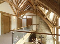 Oakwrights traditional oak framed 'country homes' Timber Frame Homes, Timber House, Timber Frames, Oak Frame House, Stair Well, Barn Renovation, Stair Landing, Barn House Plans, Dream Apartment
