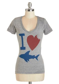 Oh, What a Bite Tee. If oceanography has stolen your heart, youll flip a fin over this grey T-shirt! <-- Happy Shark Week everyone :) Shark Clothes, Shark Shirt, Fandom Fashion, Vintage Sweaters, Plus Size Tops, Modcloth, Cool Shirts, What To Wear, Shark Week