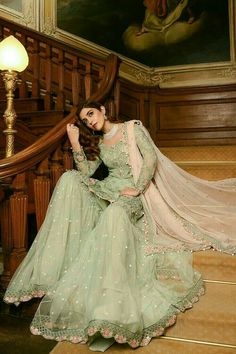 Georgette Pakistani Suit In Green Colour <br> This Exclusive Pakistani Suit Is An Ultimate Party Wear Collection With The Mesmerizing Colours Of Green With The Artistic Embridery , Leave No Stone Unturned And Be At Your Fashionable Best. Pakistani Party Wear, Pakistani Wedding Outfits, Pakistani Couture, Pakistani Dress Design, Pakistani Dresses, Indian Outfits, Pakistani Garara, Walima Dress, Pakistani Designer Suits