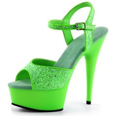 Bright and Bold Lime Green Heels with Sparkling Glitter and 6 Inch... ($55) ❤ liked on Polyvore featuring shoes, pumps, sparkly stilettos, bright colored shoes, lime shoes, high heels stilettos and glitter stilettos
