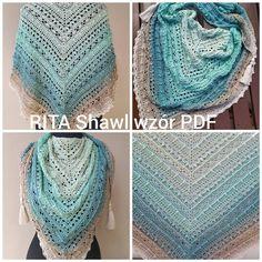 Wzór na chustę szydełkową CarmElla Crochet Shawl, Crochet Lace, Crochet Blankets, Poncho, Crochet For Beginners, Shawls And Wraps, Crochet Clothes, Crochet Projects, Craft Supplies
