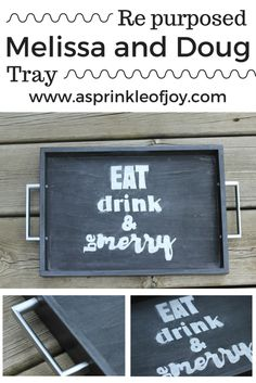 Do you have a bunch of Melissa and Doug trays laying around the house? Don't throw them out. Repurpose them! Repurposed Melissa and Doug tray.