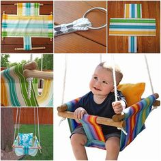 Wonderful DIY Hammock Type Baby Swing is part of Mommy And Baby crafts - What kid doesn't love a swing A baby swings not only provides a gentle rocking motion to soothe and comfort baby , but also give moms handsfree time A Baby Hammock, Hammock Swing, Baby Swings, Diy Swing, Outdoor Hammock, Hammock Ideas, Backyard Hammock, Indoor Swing, Outdoor Chairs