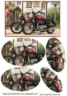 VINTAGE MOTOR BIKES OUTSIDE A PUB OVAL PYRAMIDS on Craftsuprint - Add To Basket!