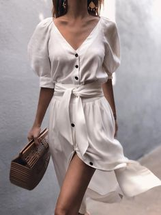 Puff Sleeve Button Through Legeres Kleid mit Gürtel - chiquebabe_official - O. - Puff Sleeve Button Through Legeres Kleid mit Gürtel – chiquebabe_official – Outfits – Source by - Mode Outfits, Trendy Outfits, Fashion Outfits, Womens Fashion, Fashion Clothes, Ladies Fashion, Fashion Ideas, Dress Fashion, Fashion 2018