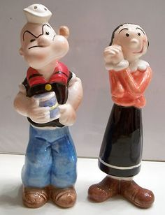 Popeye Olive Oyl Salt Pepper Shakers 1980