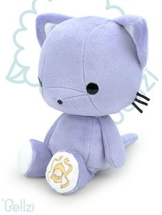Cute Bellzi® Purple w/ White Contrast Cat Stuffed Animal Plush Doll - Kitti