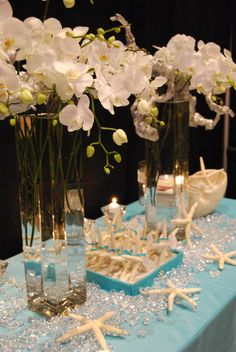 Beach theme wedding venues with destinationweddings.travel then accessorize with sea glass, starfish, seashore colors and magic! A barefoot beach wedding with flowers OR not We make your destination wedding come true. 503-630-5570 #allweddingsallowed
