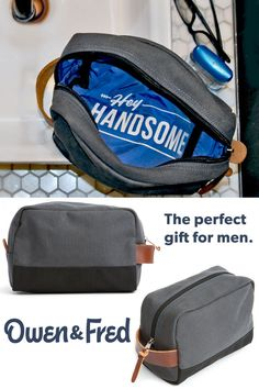 Owen & Fred's HEY HANDSOME shaving kit bag makes for the perfect gift for men. Designed in New York and made in the USA.