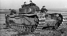 Tankers of the 1 Division in exercises with the Churchill tank.