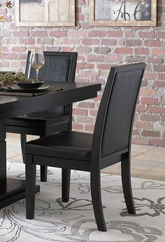 2 Cicero Casual Black Wood Vinyl Side Chairs