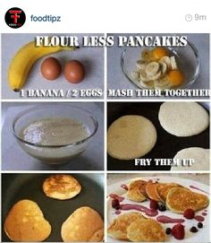 *My husband made these fore me and I love them! (He thought they looked gross) Great source of protein too! Flour-less pancakes with bananas and eggs,