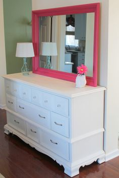 refurbished dresser with mirror painted bright pink for color