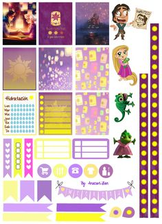 Rapunzel/Tangled Printable Stickers by AnacarLilian on DeviantArt Free Planner, Planner Pages, Happy Planner, Planner Ideas, Freebies, Journal Stickers, Printable Planner Stickers, Planner Organization, Filofax