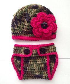 Crochet Camo Baby Girl Flower Hat & Diaper Cover Photo Prop on Etsy, $20.00
