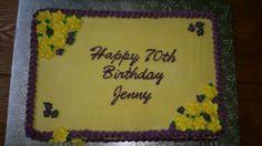 Birthday slab cake with flowers