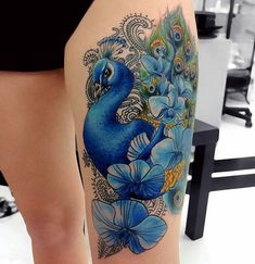 Thigh Tattoo: 93 ideas and inspirations Cover Up Tattoos For Women, Colour Tattoo For Women, Neck Tattoos Women, Shoulder Tattoos For Women, Spine Tattoos, Body Art Tattoos, Tribal Tattoo Designs, Tribal Tattoos, Thigh Tattoo Designs