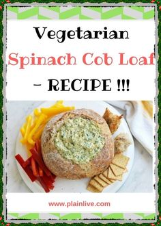 This vegetarian spinach cob loaf recipe by taste member, 'silvery' is perfect for easy entertaining. Loaf Recipes, Spinach Recipes, Dip Recipes, Smoothie Recipes, Vegetarian Recipes, Cooking Recipes, Delicious Recipes, Dinner Recipes, Cob Dip