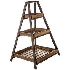 Antique Brown Wood & Metal Tiered Shelf $30hobbylobby