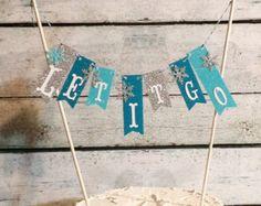 "Cake Bunting, Frozen, ""Let It Go"", Glitter Paper, Cake Topper, Paper banner"
