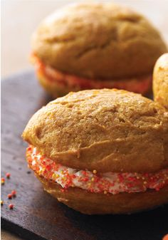 Pumpkin-Spiced Whoopie Pies with Ginger Cream -- When the dessert table is groaning from all of these pumpkin pies piled on top, you'll be glad you brought Pumpkin-Spiced Whoopie Pies with Ginger Cream.